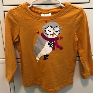 Hanna Andersson Owl with Scarf Long Sleeved Shirt